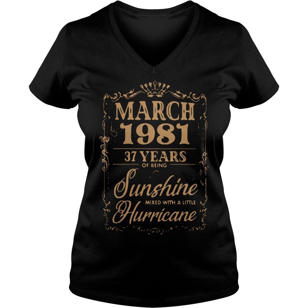 March 1981 37 Years Sunshine Mixed Little Hurricane V Neck T Shirt