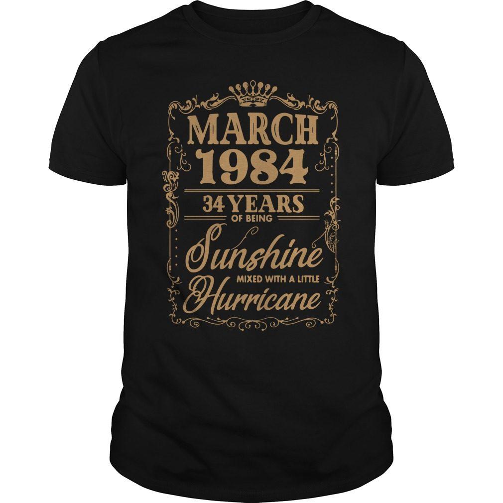 March 1984 34 Years Sunshine Mixed Little Hurricane Guys Shirt