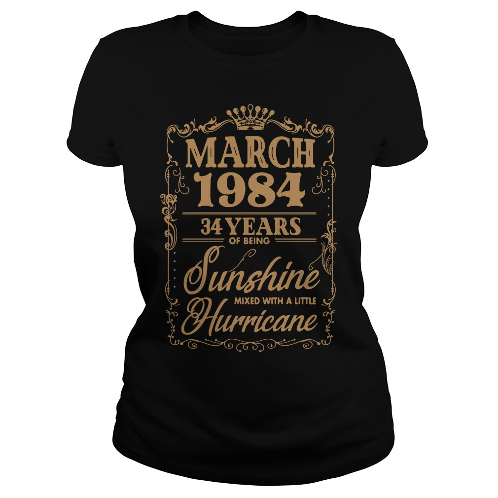 March 1984 34 Years Sunshine Mixed Little Hurricane Ladies Tee