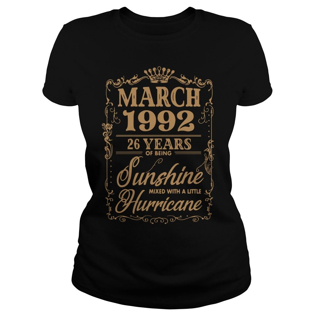 March 1992 26 Years Sunshine Mixed Little Hurricane Ladies Tee