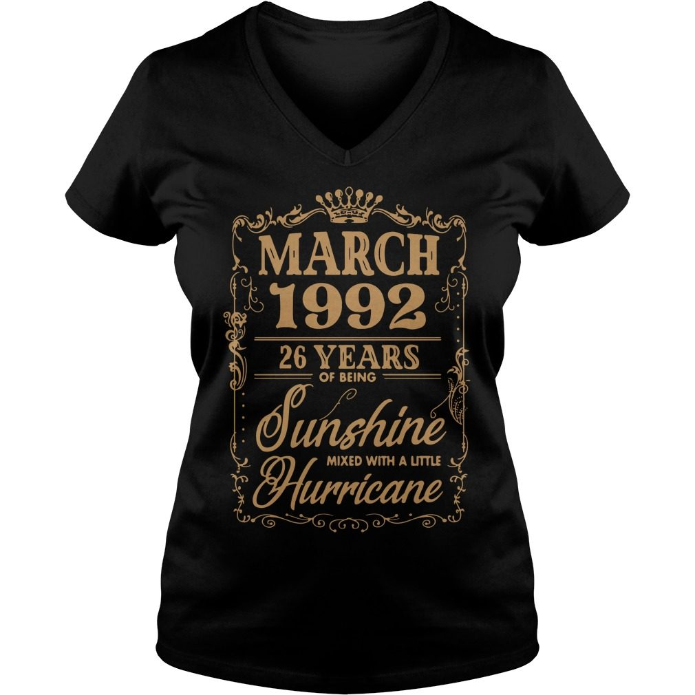 March 1992 26 Years Sunshine Mixed Little Hurricane V-neck t-shirt