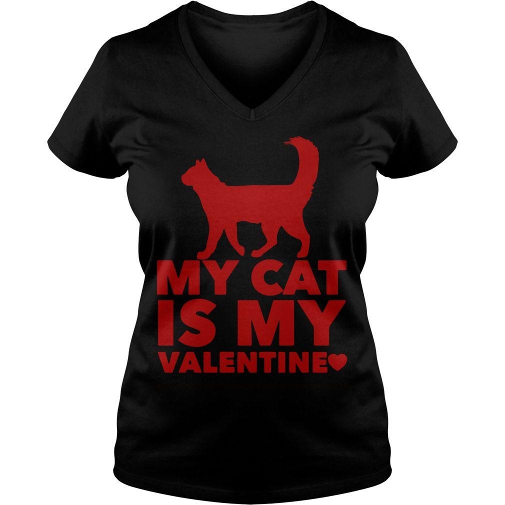 My Cat Is My Valentine V-neck t-shirt