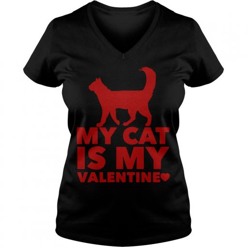 My Cat Is My Valentine V-neck t-shirt