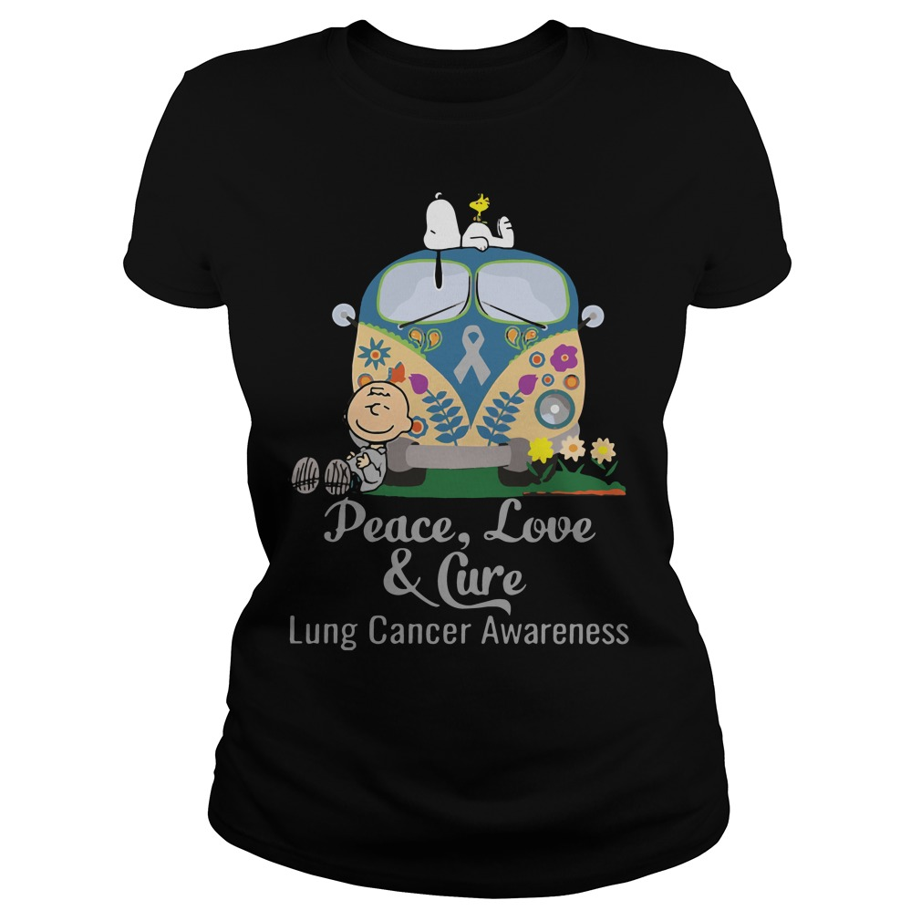 Peace Love Cure Lung Cancer Awareness Ladies Tee