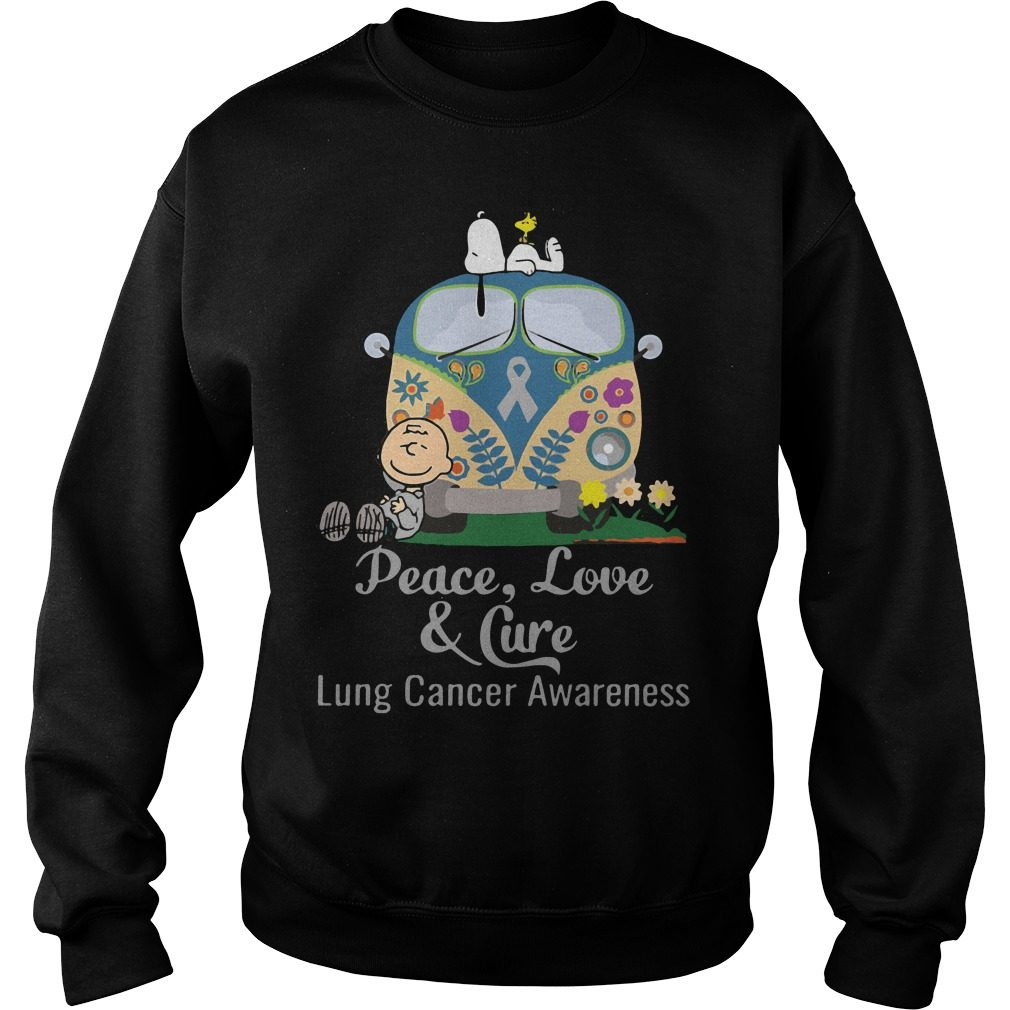Peace Love Cure Lung Cancer Awareness Sweater