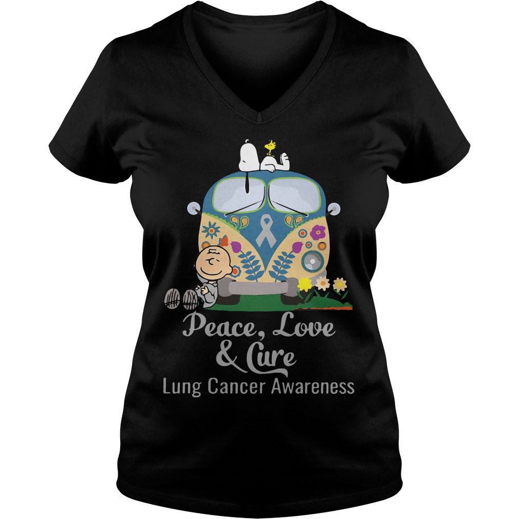 Peace Love Cure Lung Cancer Awareness V Neck T Shirt