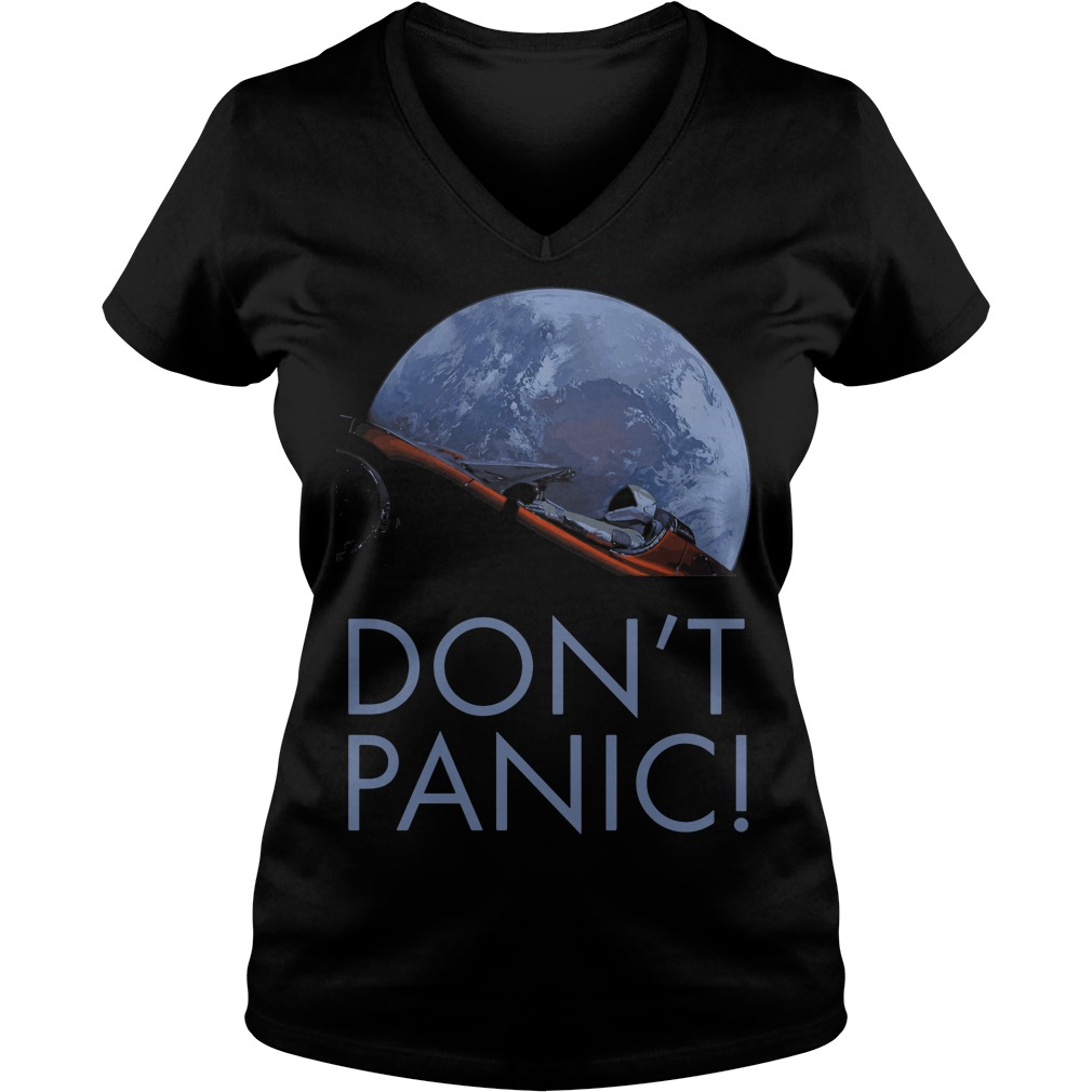 Spacex Dont Panic Space Graphic V Neck T Shirt