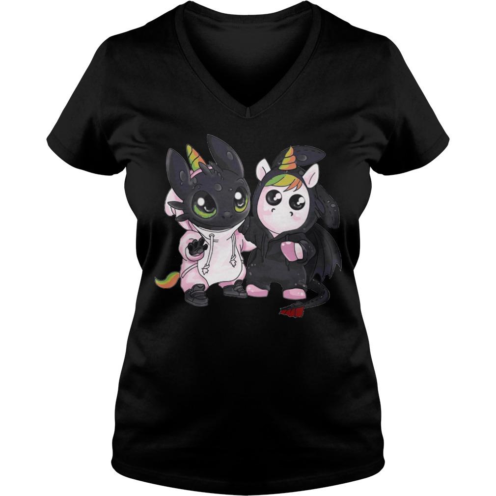 Toothless Unicorn V-neck t-shirt