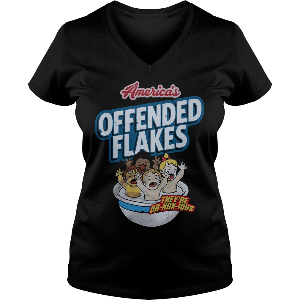 Americas Offended Flakes V Neck T Shirt