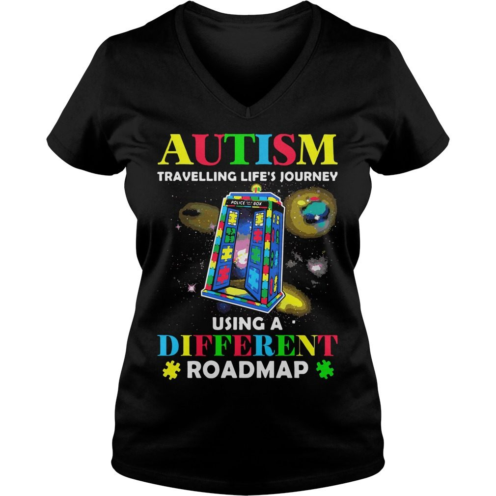 Autism Travelling Lifes Journey Using Different Roadmap V Neck T Shirt