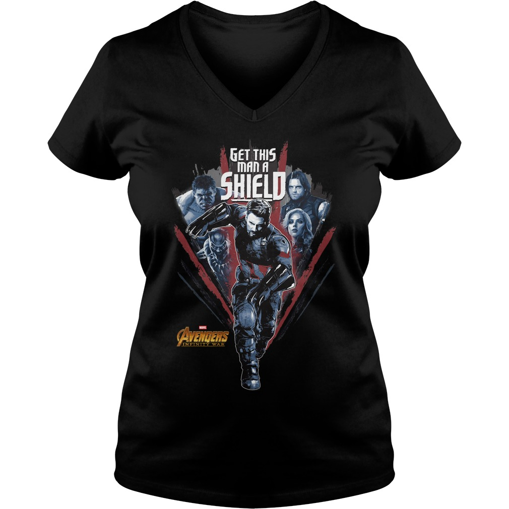 Avengers Infinity War Get Man Shield V Neck T Shirt