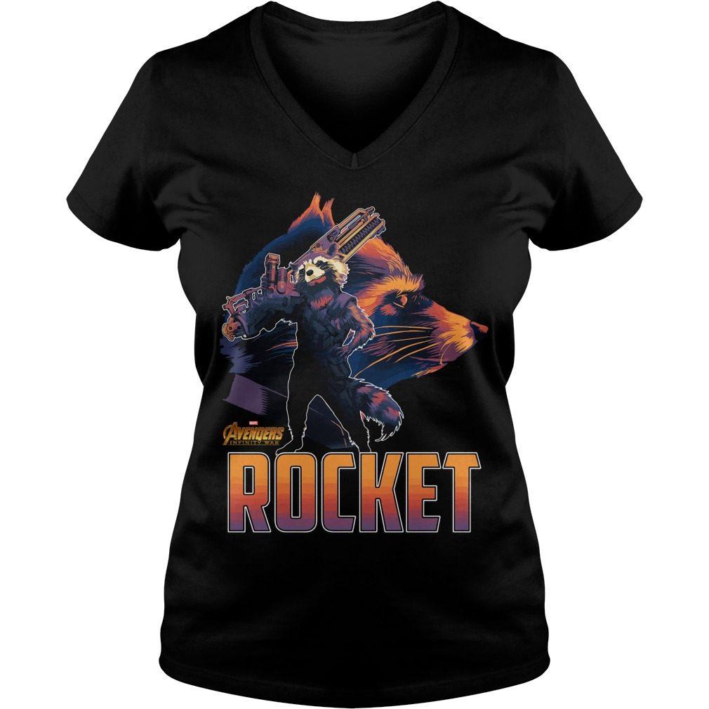 Avengers Infinity War Rocket V Neck T Shirt