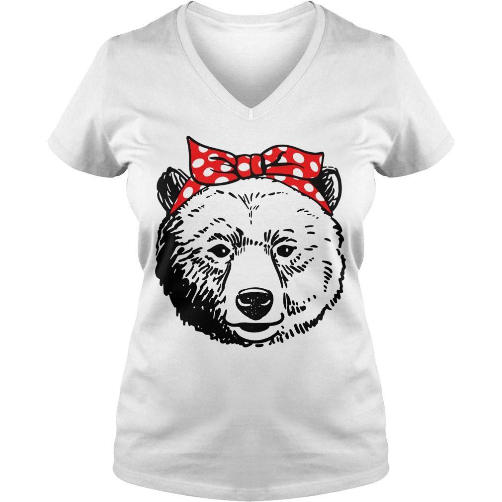 Bear Head Bow V Neck T Shirt