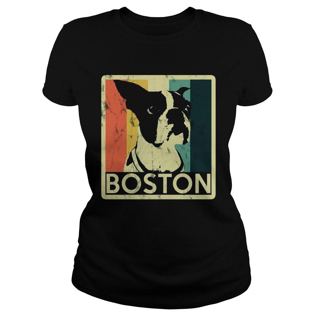 Boston Terrier Vintage Style Distressed Ladies Tee