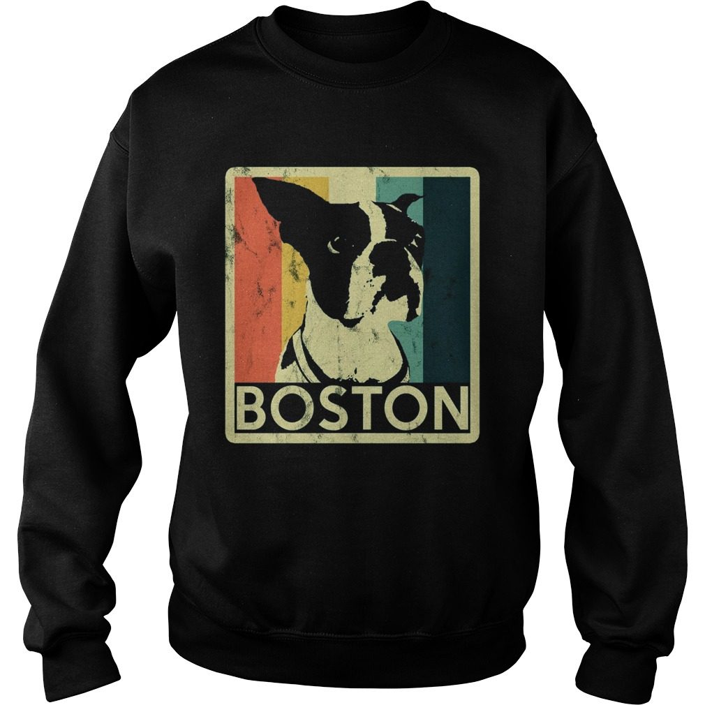 Boston Terrier Vintage Style Distressed Sweater