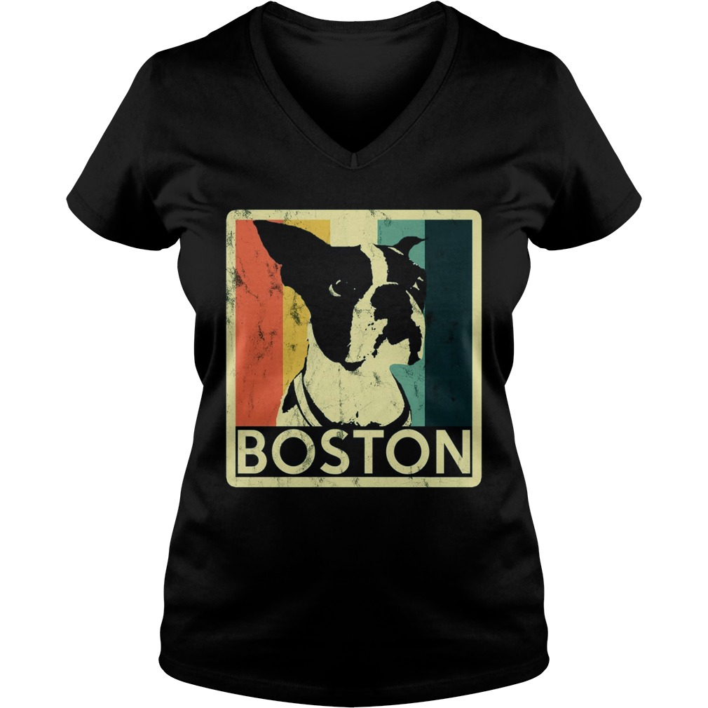 Boston Terrier Vintage Style Distressed V Neck T Shirt