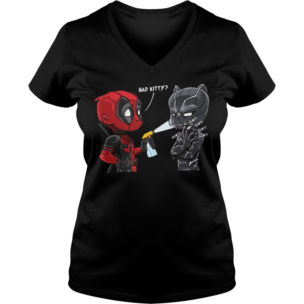 Deadpool Black Panther Bad Kitty V-neck t-shirt