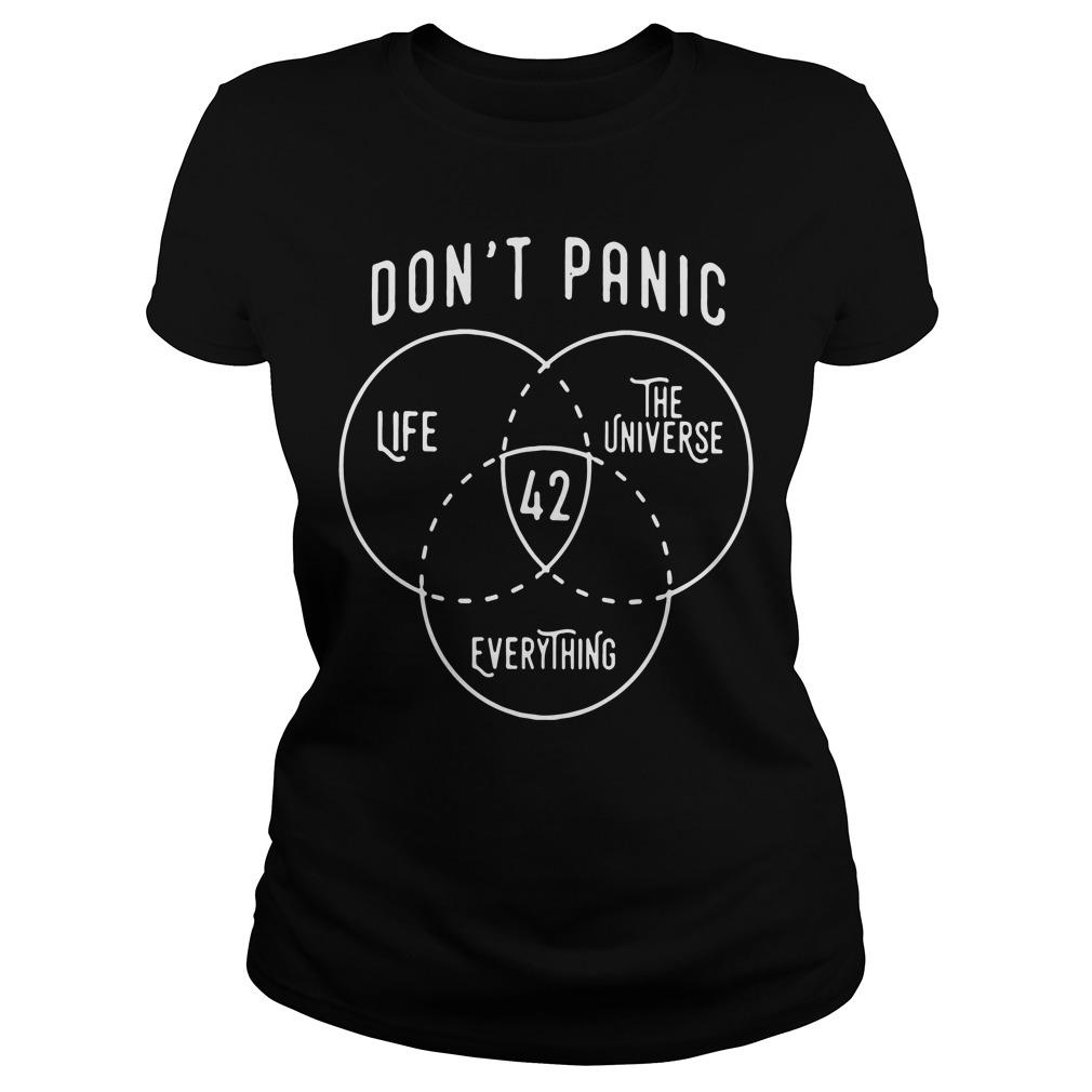 Dont Panic Life 42 Universe Everything Ladies Tee