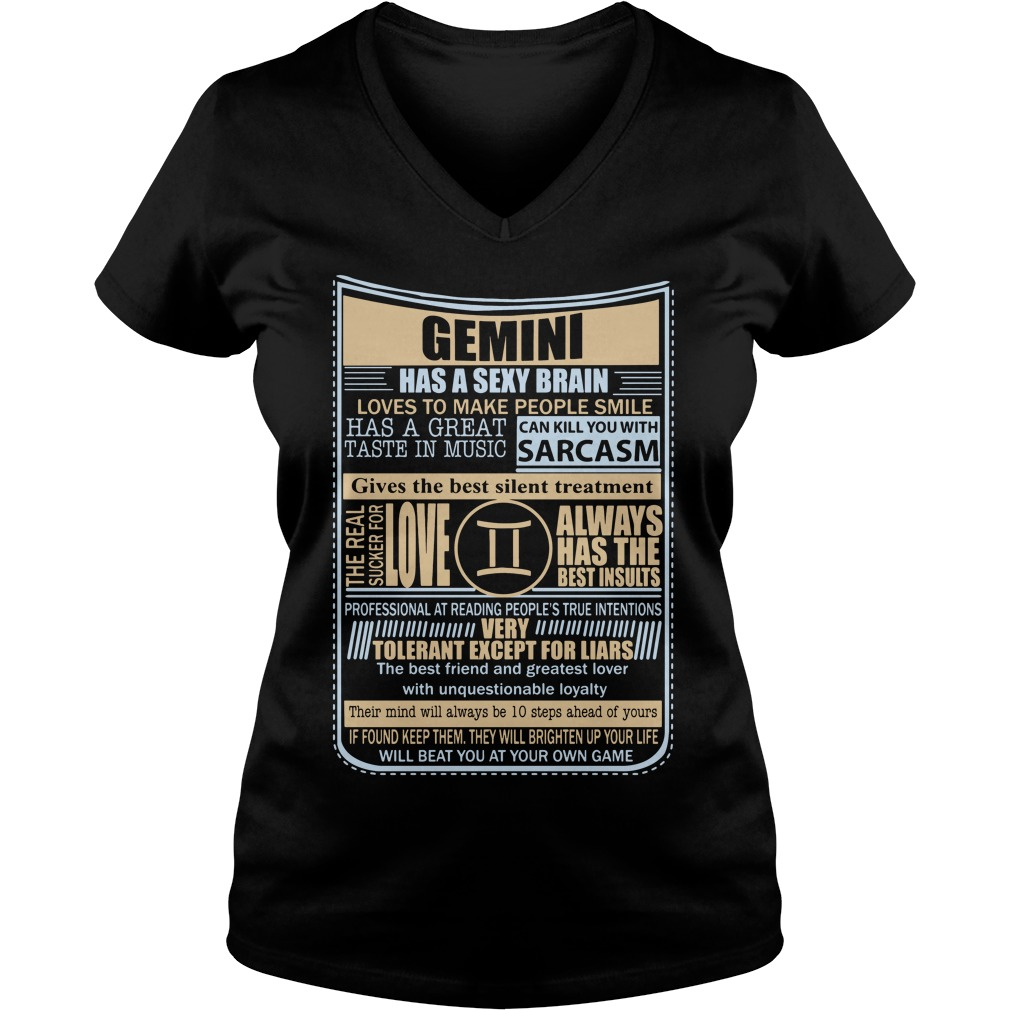 Gemini Sexy Brain Love Make People Smile V Neck T Shirt