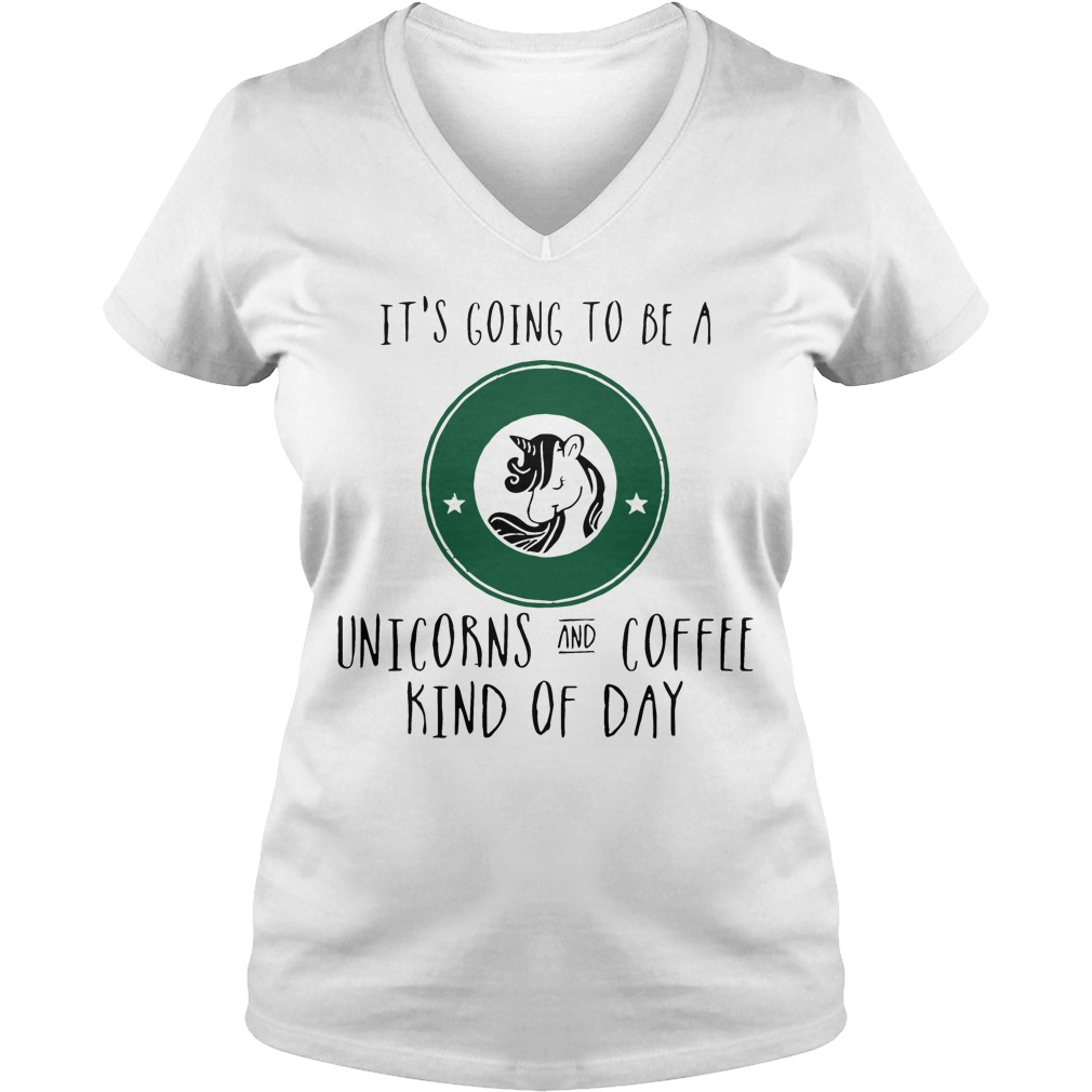 Going Unicorns Coffee Kind Day V Neck T Shirt