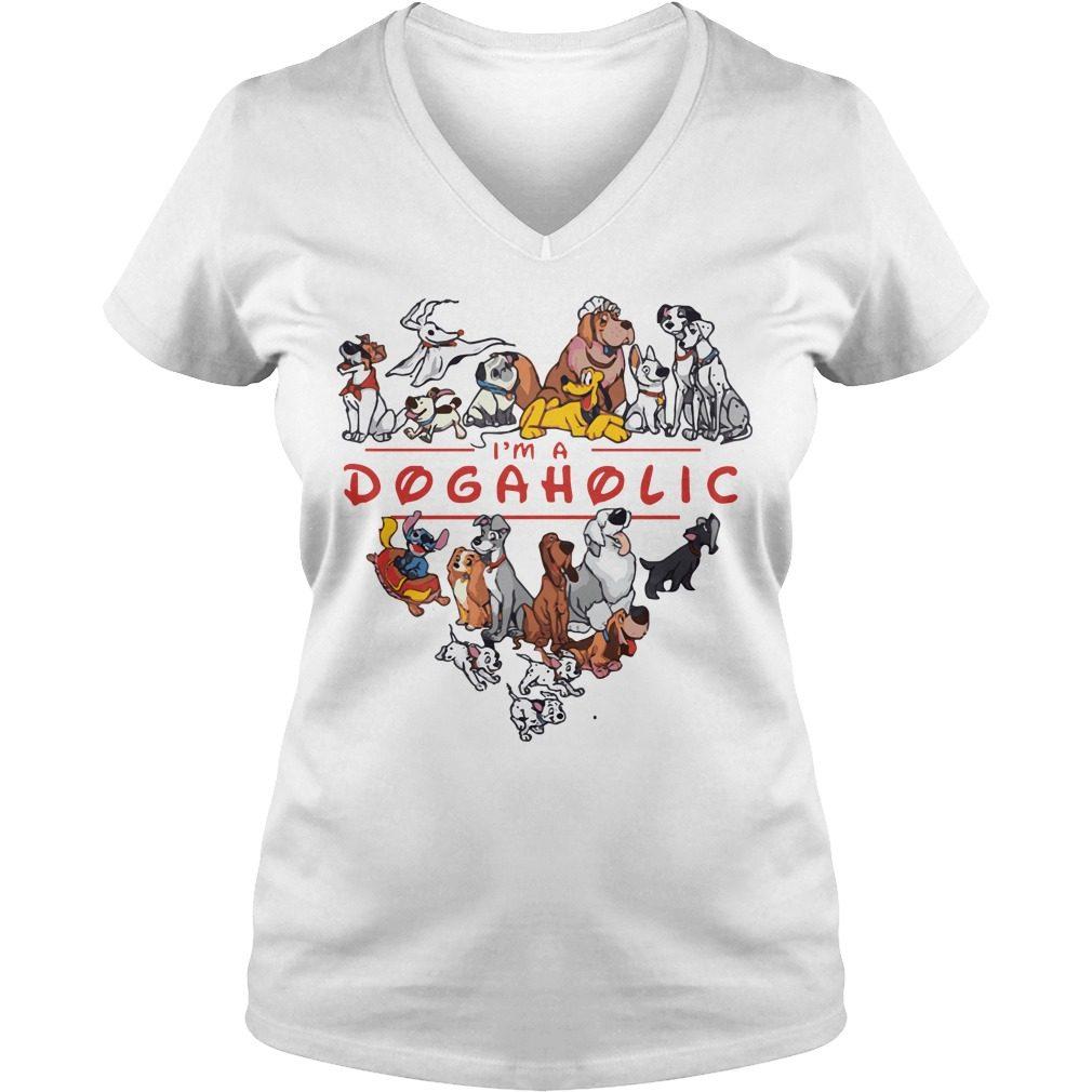 Im Dogaholic Disney V Neck T Shirt