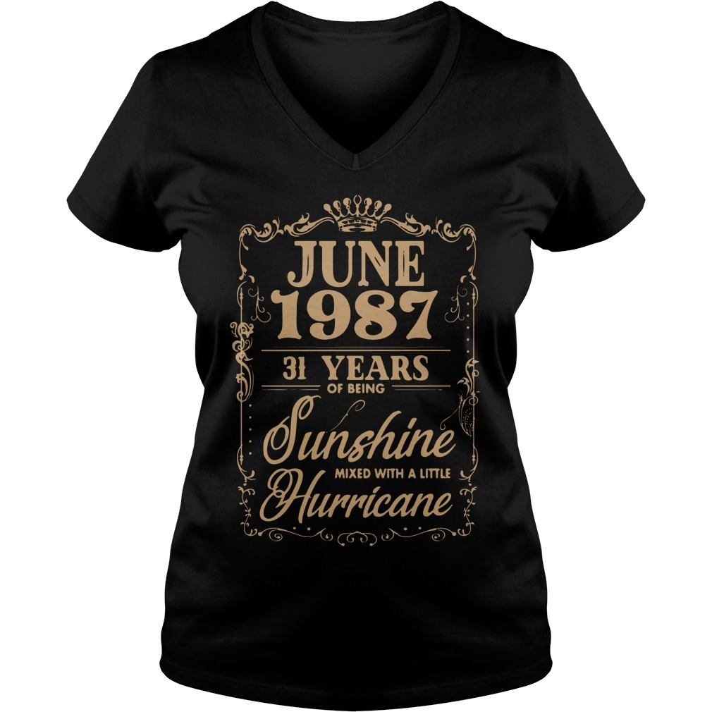 June 1987 31 Years Sunshine Mixed Little Hurricane V-neck t-shirt