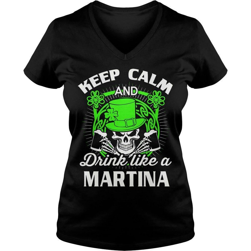 Keep Calm Drink Like Martian St Patricks Day V Neck T Shirt