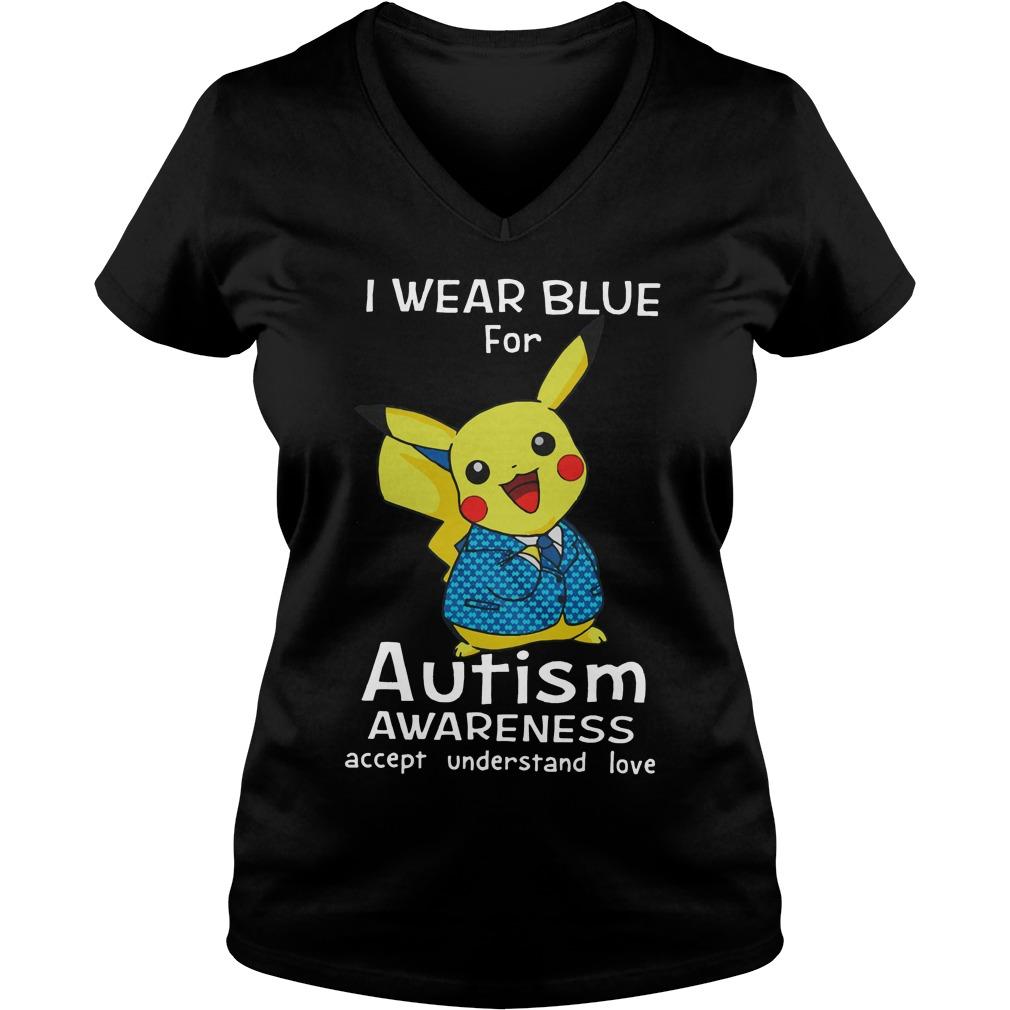 Pikachu Wear Blue Autism Awareness Accept Understand Love V Neck T Shirt