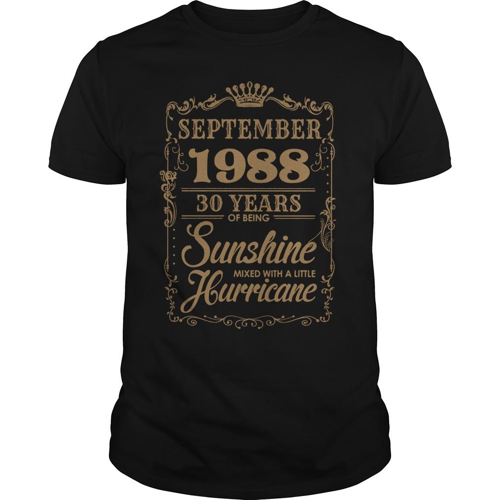 September 1988 30 Years Sunshine Mixed Little Hurricane Guys Shirt