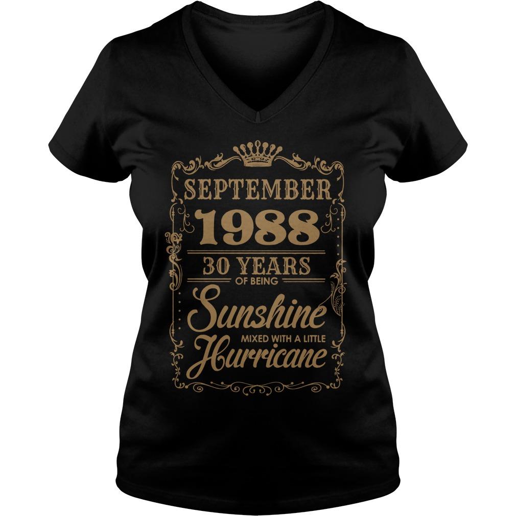 September 1988 30 Years Sunshine Mixed Little Hurricane V Neck T Shirt
