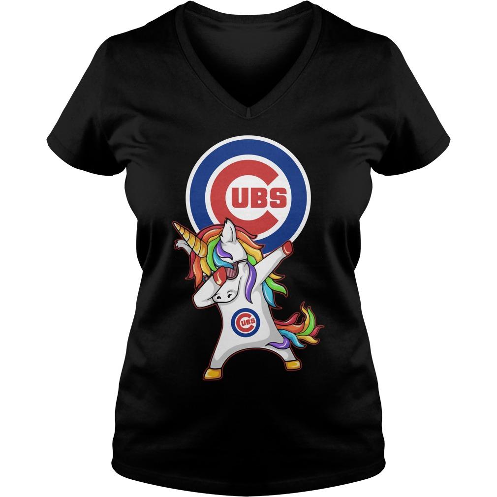 Ubs Chicago Cubs Unicorn Dabbing V Neck T Shirt