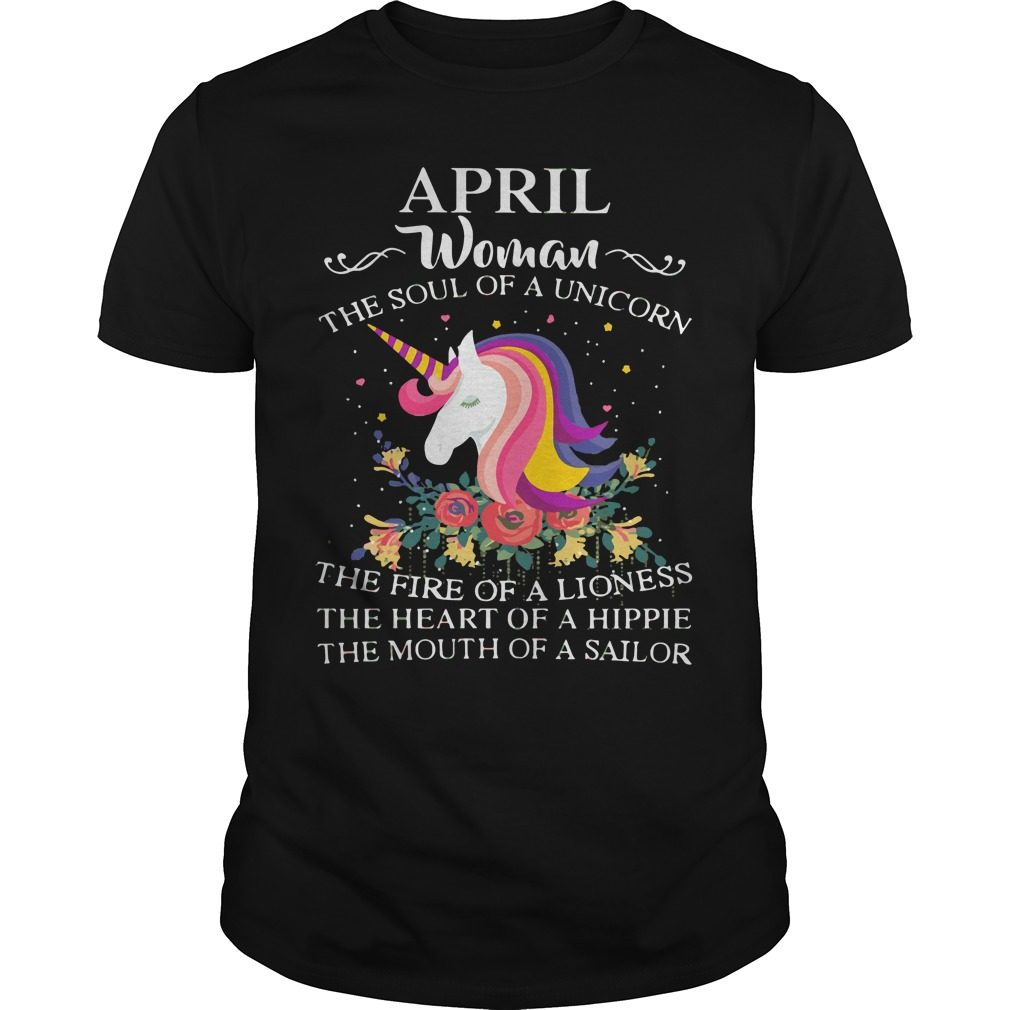 April Woman Soul Unicorn Guys Shirt