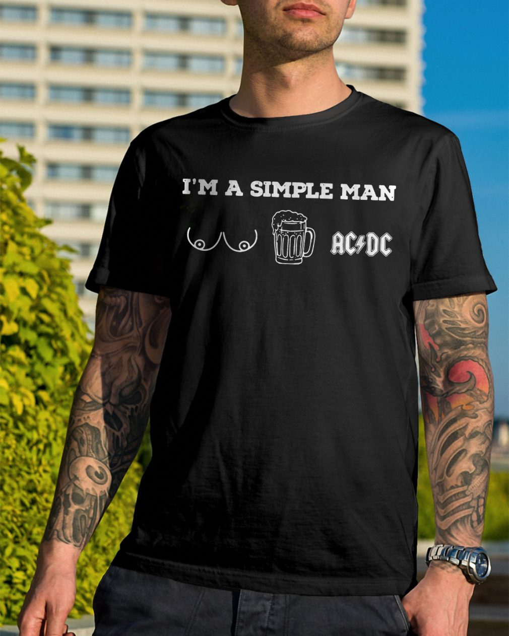 Im Simple Man Like Boobs Beer Acdc Shirt