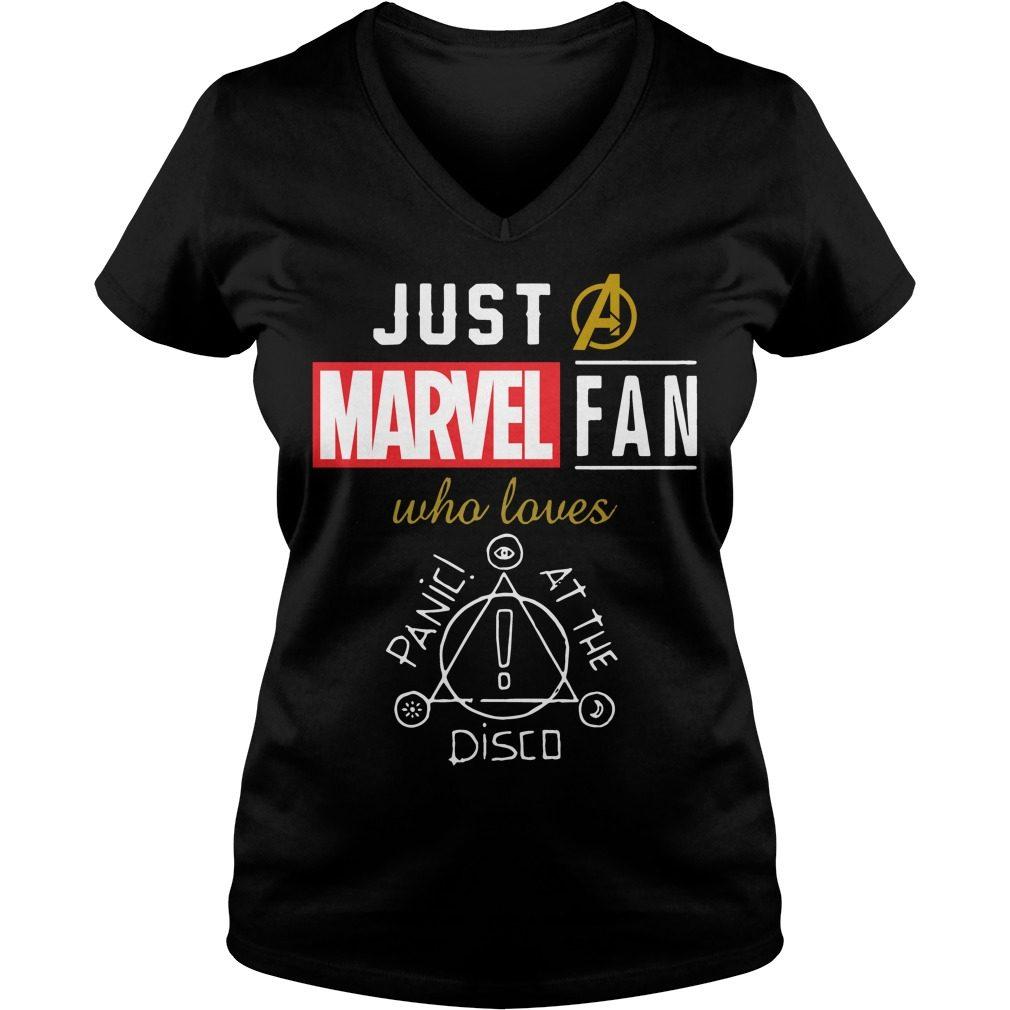 Just Marvel Fan Loves Panic Disco V Neck T Shirt