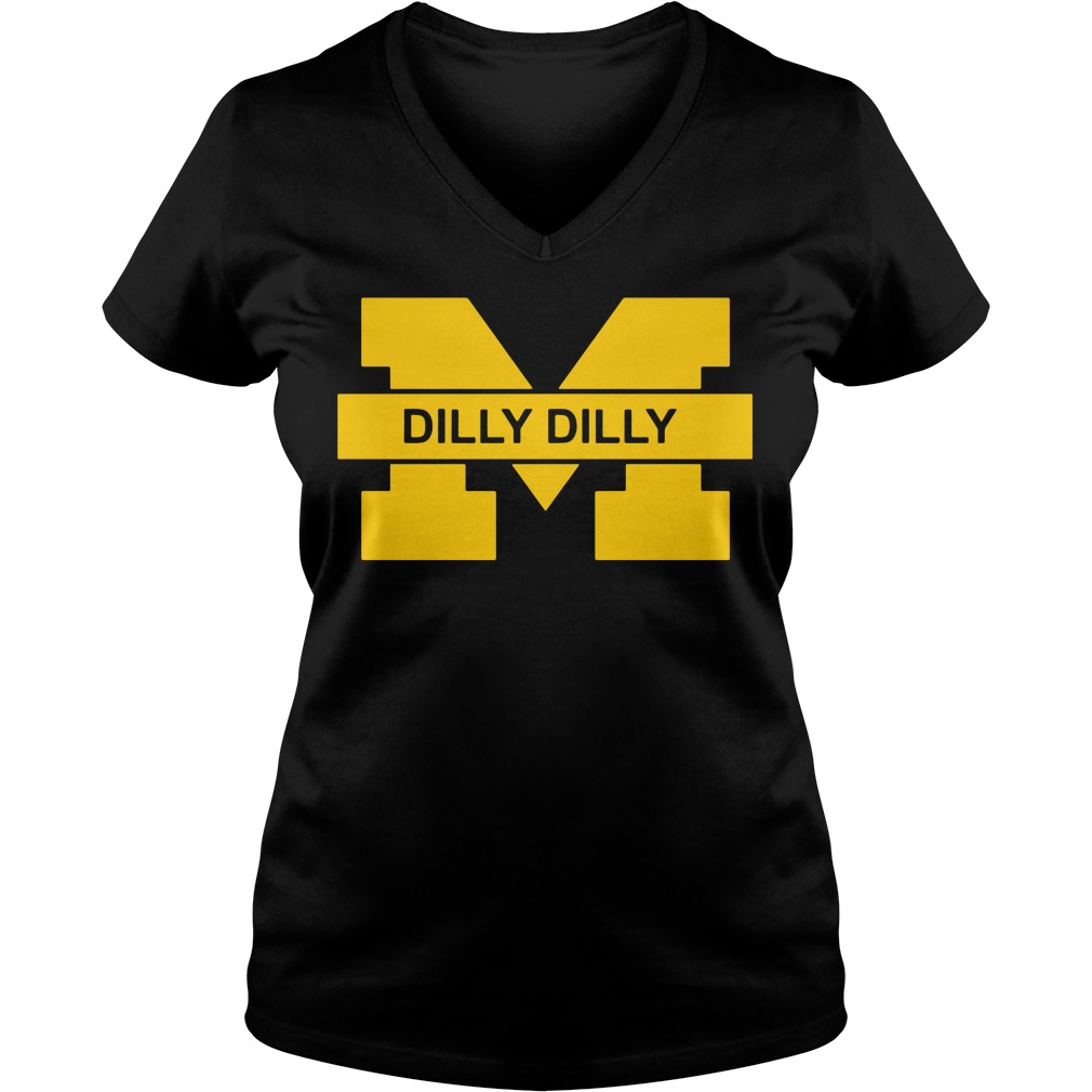 Michigan Wolverines Dilly Dilly Goblue V Neck T Shirt