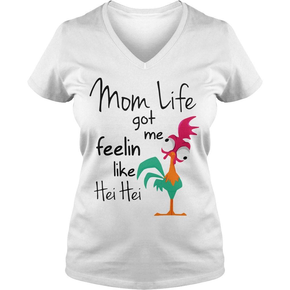 Moana Chicken Mom Life Got Feelin Like Hei Hei V Neck T Shirt