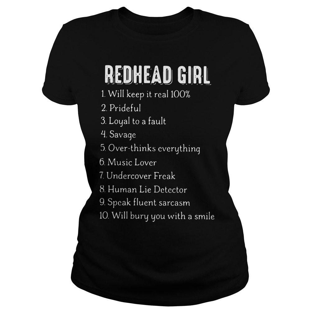 Redhead Girl Will Keep Real 100 Ladies Tee
