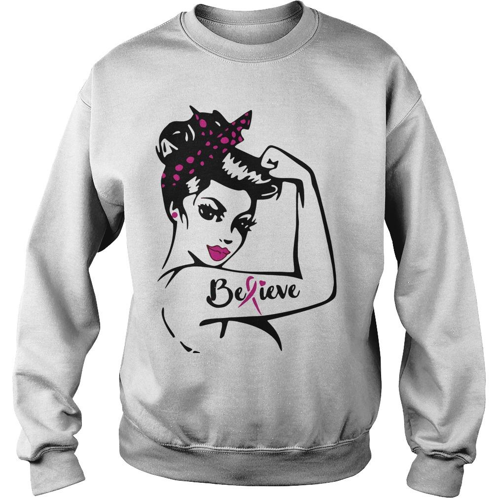 Rosie Pin Breast Cancer Believe Sweater
