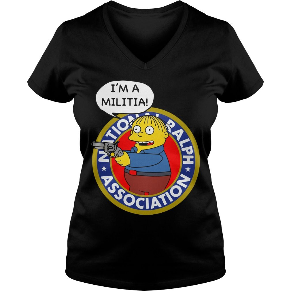 Simpsons Ralph Wiggum Im Militia V Neck T Shirt