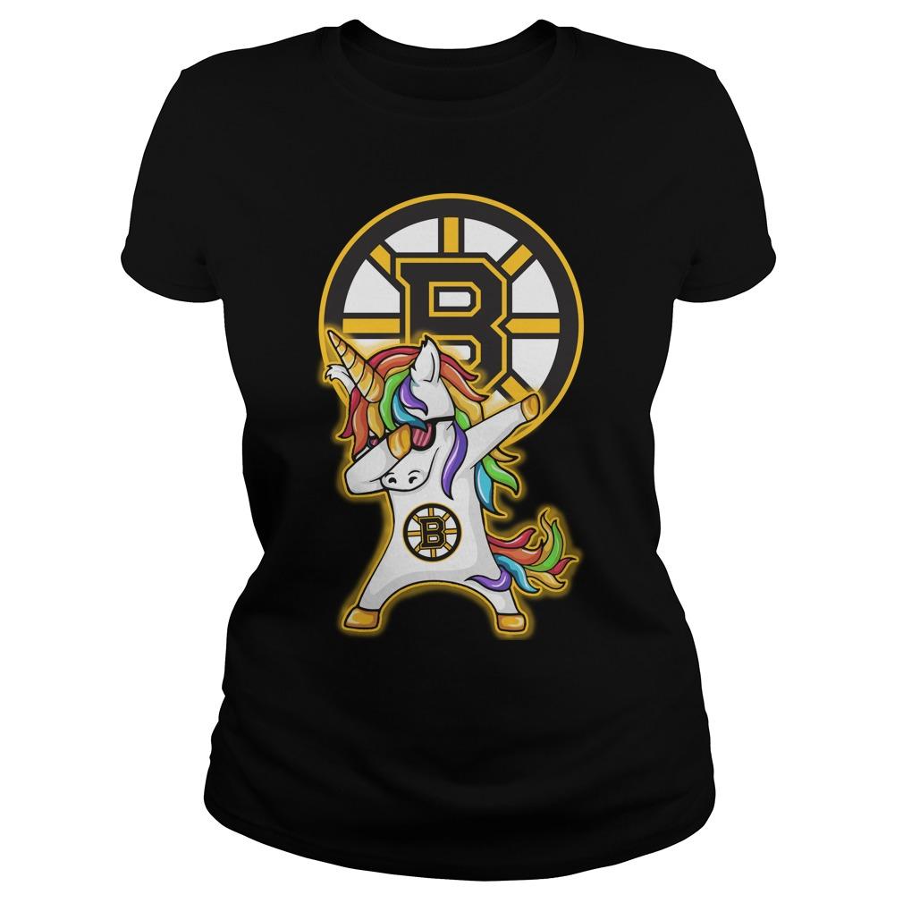 Unicorn Dabbing Boston Bruins Ladies Tee