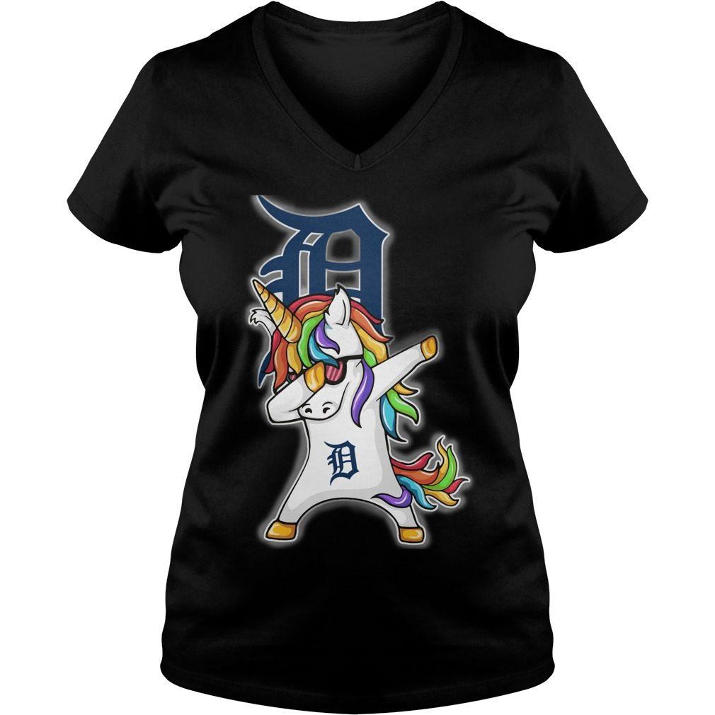 Unicorn Dabbing Detroit Tigers V Neck T Shirt