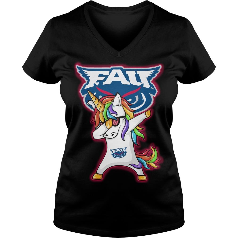 Unicorn Dabbing Florida Atlantic Owls V Neck T Shirt