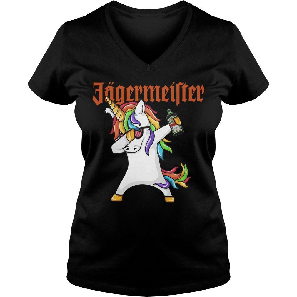 Unicorn Dabbing Jagermeister V Neck T Shirt