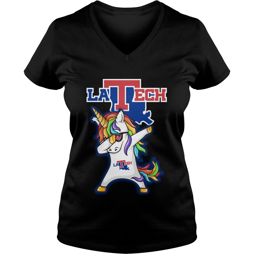 Unicorn Dabbing Louisiana Tech Bulldogs V Neck T Shirt
