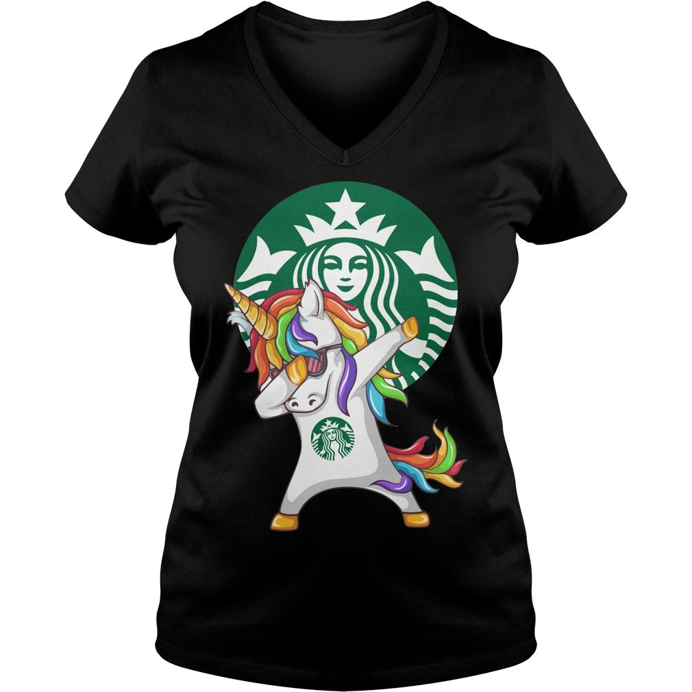 Unicorn Dabbing Starbucks V Neck T Shirt