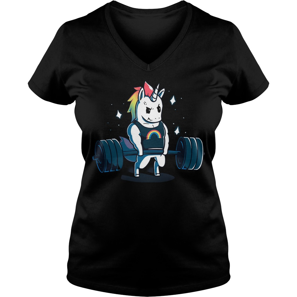 Weight Lifting Gym Unicorn V Neck T Shirt