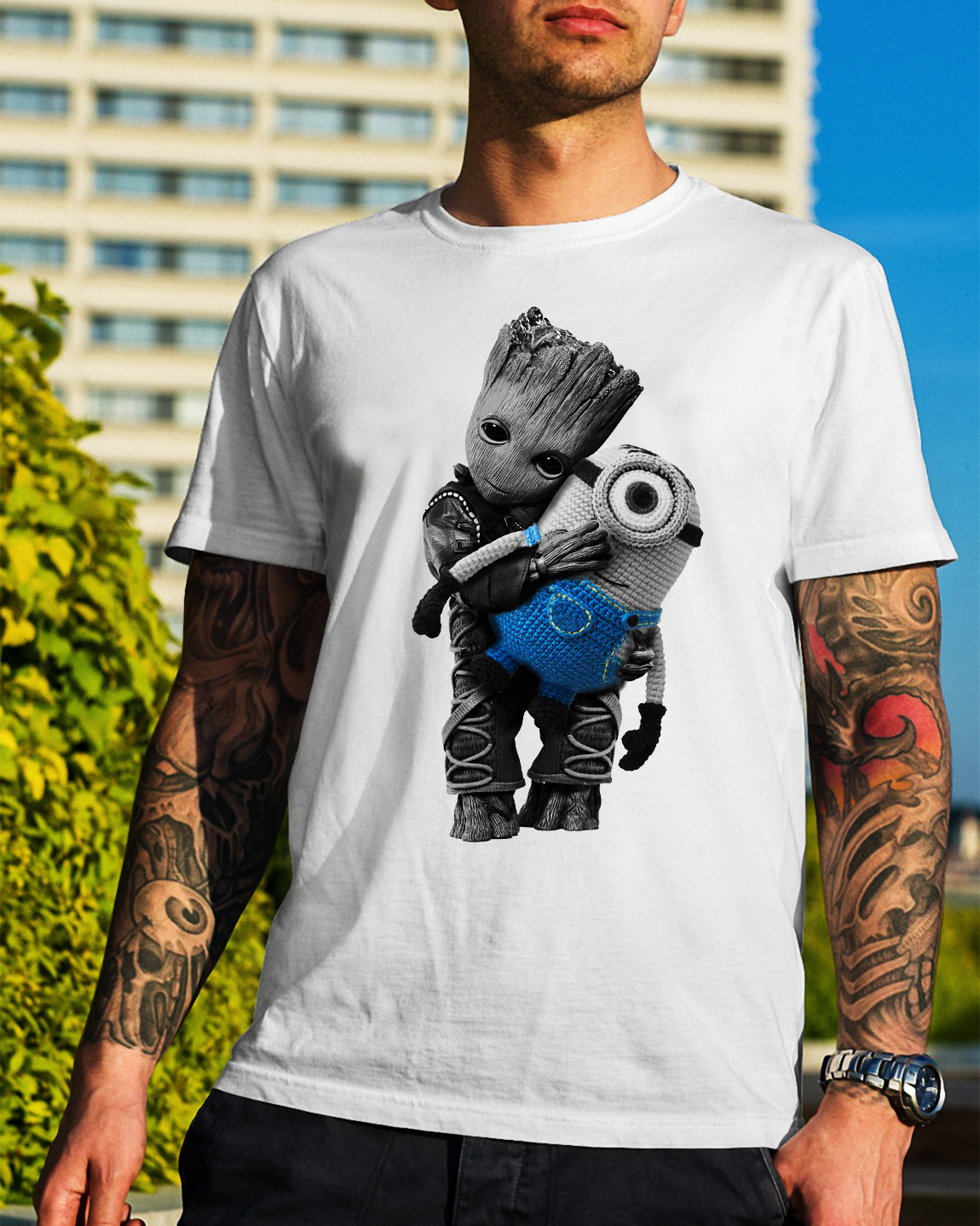 Baby Groot hugging Minion Guys Shirt