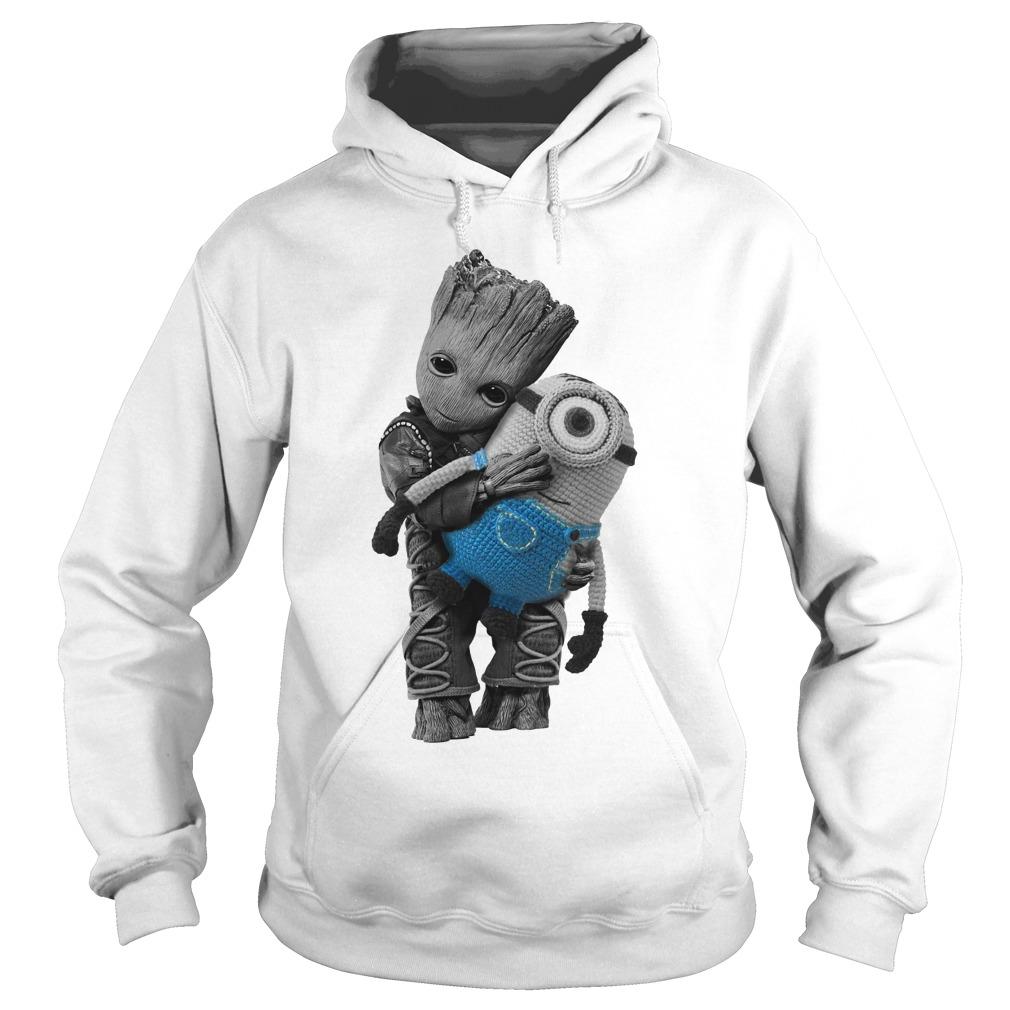Baby Groot hugging Minion Hoodie