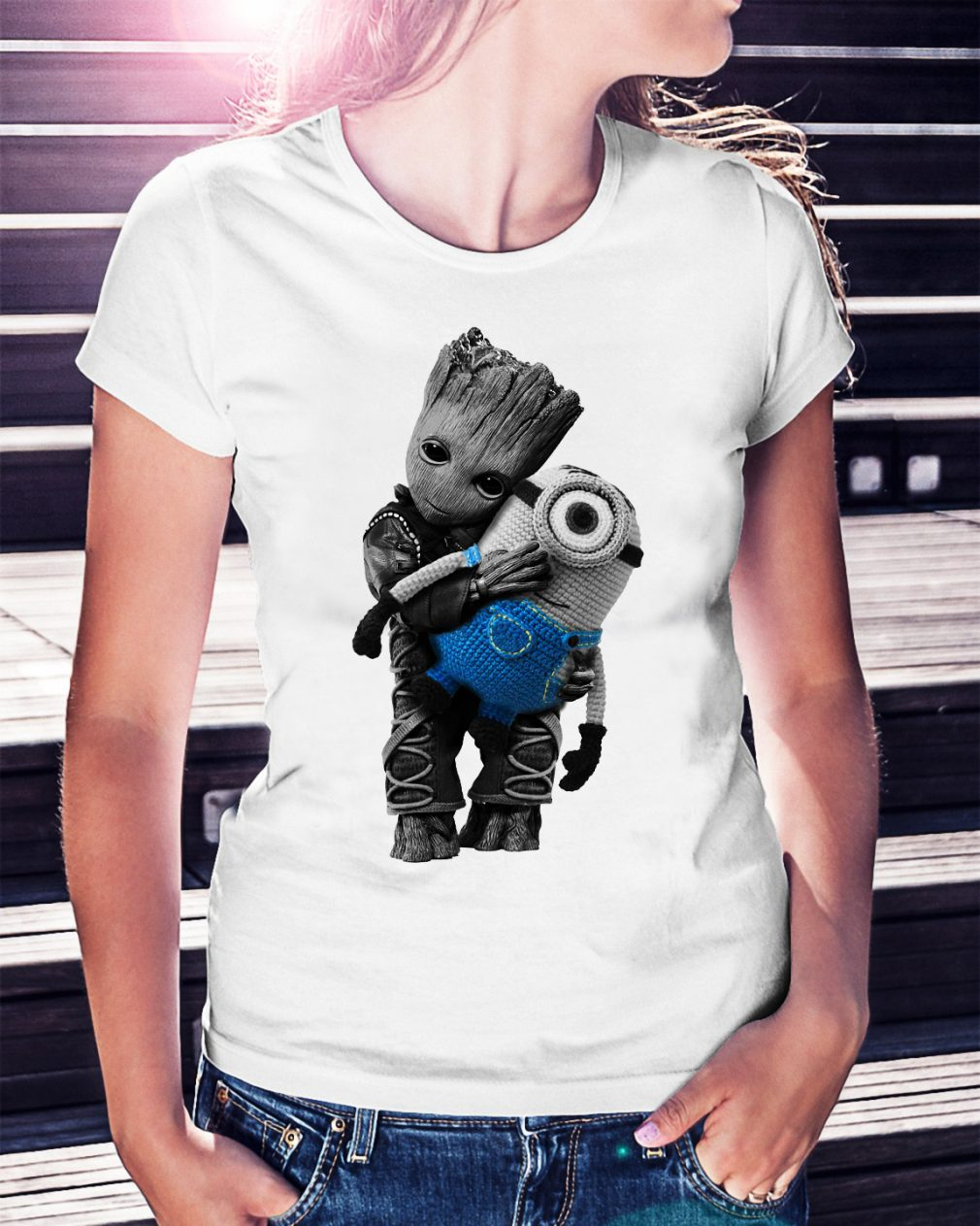 Baby Groot hugging Minion shirt