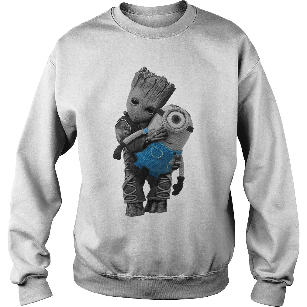 Baby Groot hugging Minion Sweater